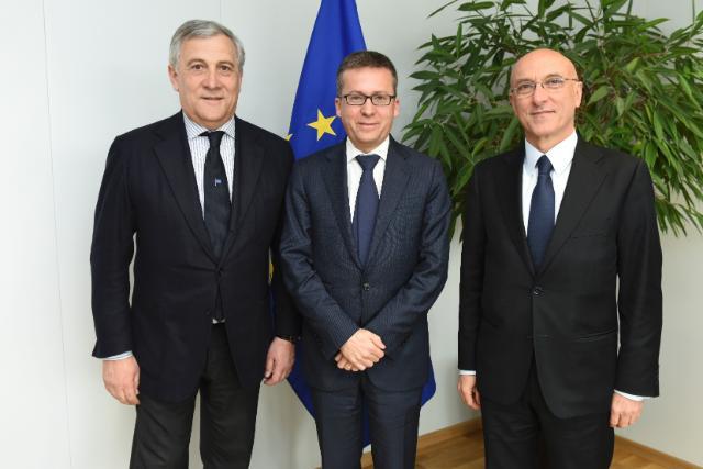 Piero Di Lorenzo Incontra Il Presidente Del Parlamento Europeo Antonio Tajani Ed Il Commissario Europeo Per La Ricerca Scientifica Carlos Moedas