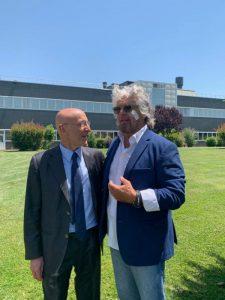 Grillo e Piero Di Lorenzo nel centro Irbm-Cnccs a Pomezia